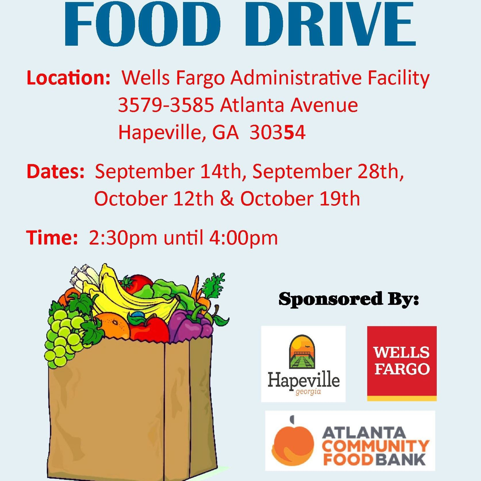 Hapeville & Wells Fargo Food Drive FLYER