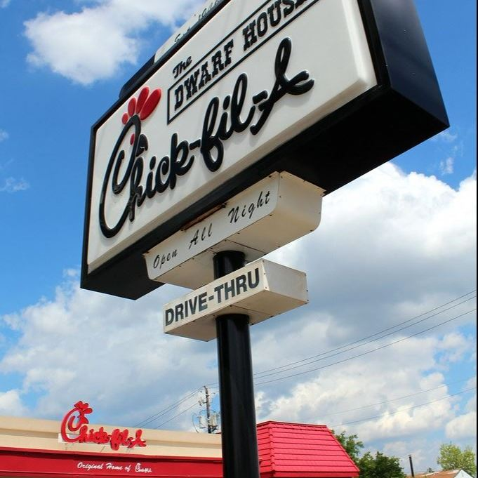 Chick Fil A sign with the sky backdrop before current remodel