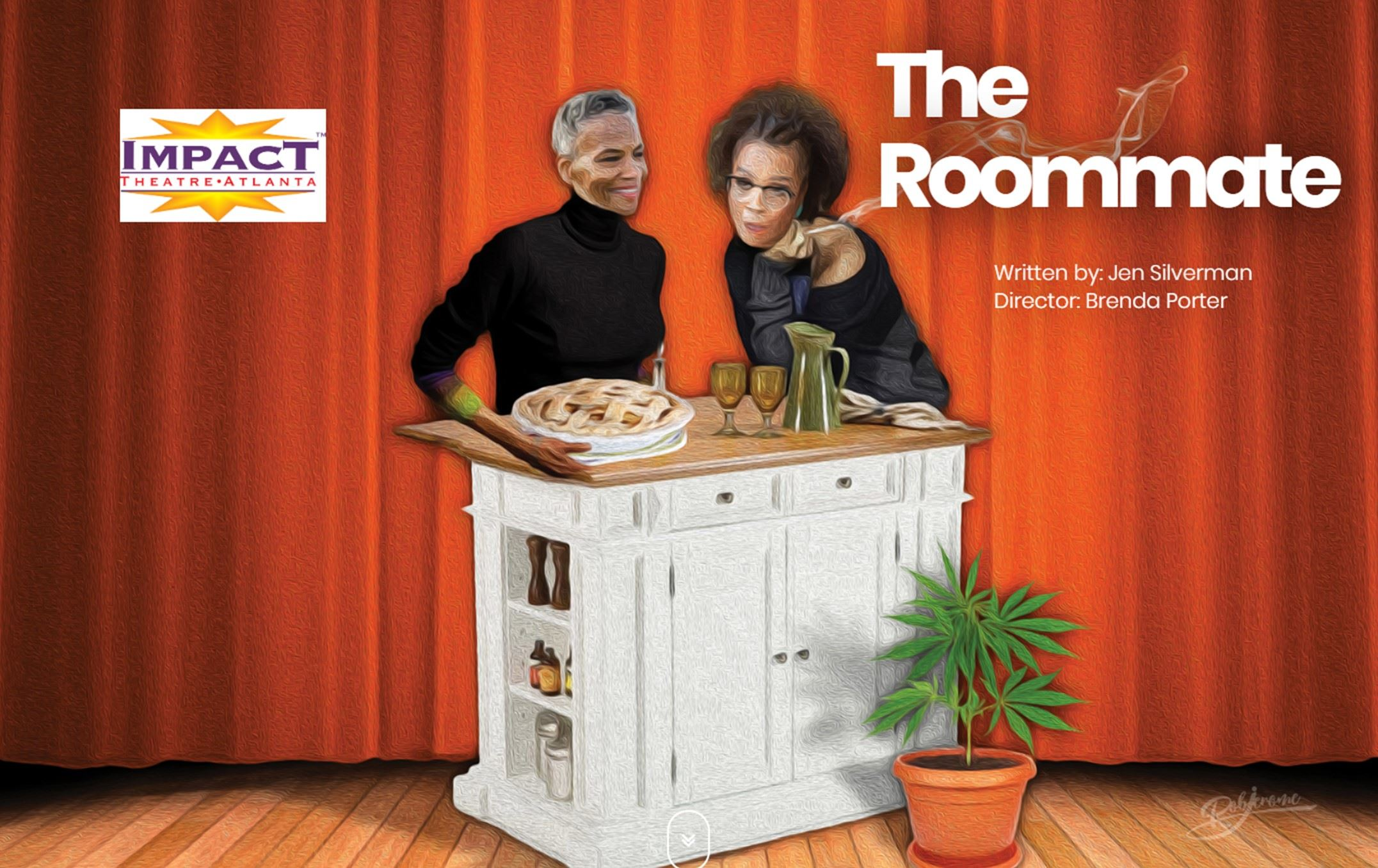 Poster for The Roommate Play presented by Impact Theatre